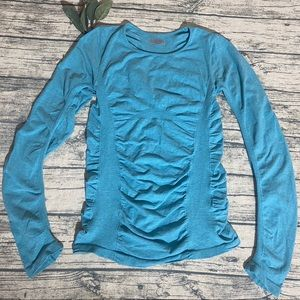 Athleta Blue Ruched Long Sleeve Workout Top Size M